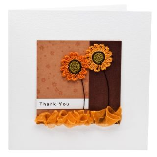 Giant Sunflowers Thank You Greetings Card (square)